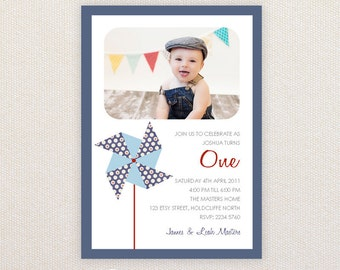 Boys Birthday Party Invitations. Pinwheel. I Customize, You Print.