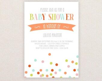 Neutral Baby Shower Invitation. Colorful confetti. I Customize, You Print.