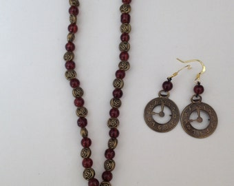 Steampunk style choker and matching earrings