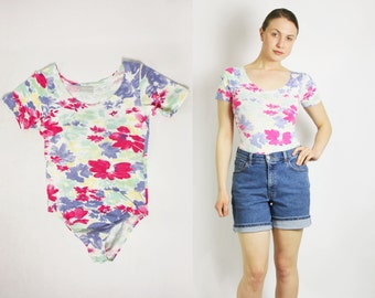 Vintage 80's 90's Floral Sherbet Bodysuit Leotard Short Sleeves