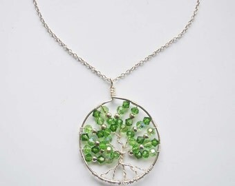 Unique Silver Plated Tree of Life Wire Pendant on the silver plated chain.