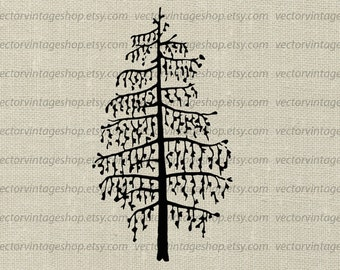 Larch tree clipart etsy larch tree vector clip art silhouette clipart botanical art illustration commercial use sciox Image collections