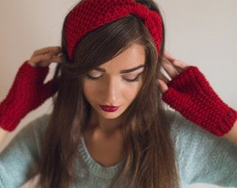 Hand Knit Headband, Ear Warmer, Red Headband, Blue Headband, Warm Winter or Spring/Fall Turban, Christmas Gift, Holiday Gift, gift for her