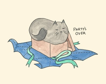 Party's Over Cat / Greeting Card