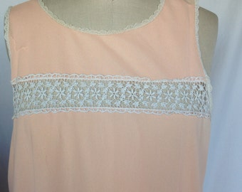 Vintage PEACH Lace Trimmed Night Gown / Full Slip by VAN RUALTE/ L Large / Nylon / Lingerie