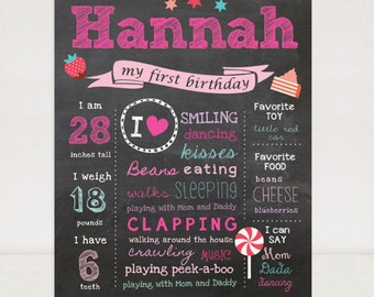 First Birthday Chalkboard Printable Poster - Lollipop candy - Pink Chalk board sign 1st birthday party - DIGITAL FILE!