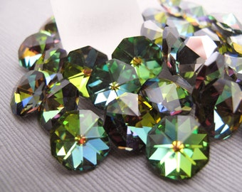 4pcs Round Rivoli Faceted Rhinestone 12mm, Vitrail Green With Multi Color Highlights Czech Rhinestone, Foiled Pointy Back - R-38G-20