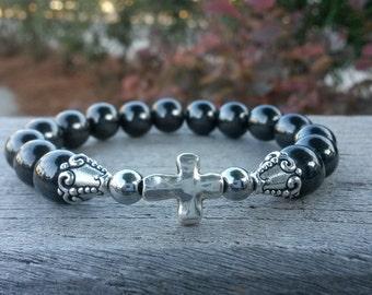 Hematite Bracelet, Stack Bracelet, Silver Cross Connector,Gun Metal Bracelet, Magnetic Bracelet, Energy Bracelet Bracelet, Hematite Bracelet