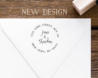 Round Address Stamp, Calligraphy Stamp, Return Address Stamp, Address Stamp, Personalized Stamp, Wedding Stamp, Custom Address Stamp
