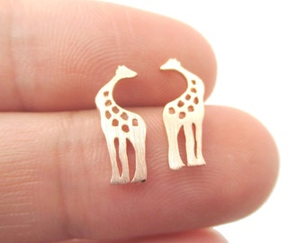 Classic Giraffe Silhouette Shaped Stud Earrings in Rose Gold  | Minimalistic Handmade Animal Jewelry