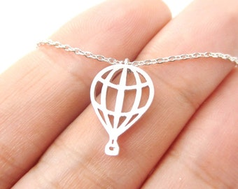 Hot Air Balloon Cut Out Shaped Pendant Necklace in Silver  | Minimalistic Handmade Jewelry