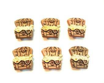 Pirate Buttons Treasure Chest Gold Jesse James Buttons Pirates Dress It Up Buttons Set of 6 Shank Back - 94