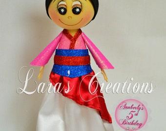 Fofucha Mulan, Foam Doll, Mulan party. Princess Mulan Centerpiece.