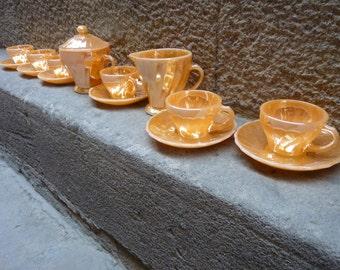 Peach gloss of Anchor Hocking glass coffee set, 40/50's