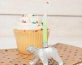 Gold or Silver Polar Bear Candle Holder, Gold Animal Party Decor, Metallic Bear Candle Holder, Zoo Animal Party Decor, Gold Cupcake Topper,