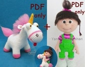 Unicorn + Little baby girl bundle, amigurumi crochet patterns pdf