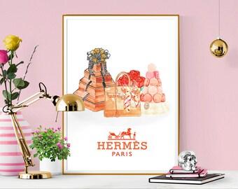 Hermes artwork. Hermes Birkin Bag, Hermes Box, Laduree Macraons and Roses. Beautiful high fashion wall art. Modern Home Décor.