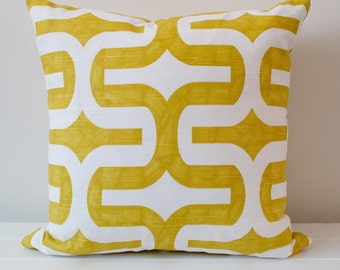 Citrus and White Geometric Cushion Cover