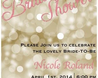 Digital Gold/Pink Glitter Bridal Shower Invitation