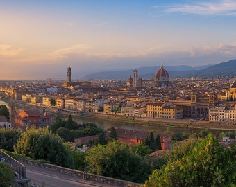 Florence Evening, Tuscany, Italy, Il Duomo, Arno River, Sunset, Renaissance, Panorama - Travel Photography, Print, Wall Art