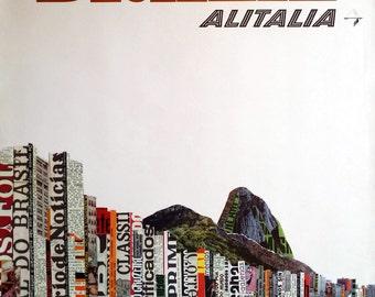 1966 Brazil Travel Poster by Alitalia - Original Vintage Poster