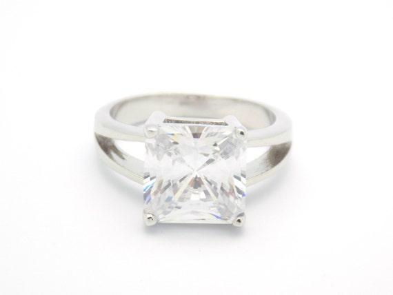 princess cut engagement ring cz ring cz wedding ring cz