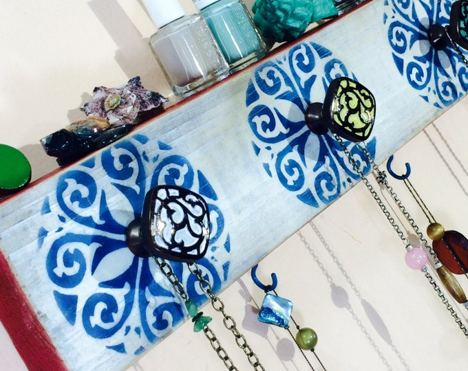 Necklace holder recycled wood /jewellry wall hanging organizer/ jewelry storage wall hanger Stenciled morrocan mandalas 6 blue hooks 5 knobs