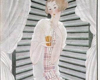 Vogue Magazine Cover 1922 art deco art nouveau home decor print fine art fashion vintage from 1981
