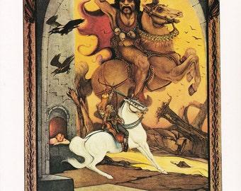 Arabian Nights illustration prince on a white horse fairy tale Julius Detmold 1922 vintage