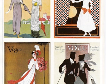 Vogue Magazine Cover art deco art nouveau home decor print fine art fashion vintage 8.5 x 11.5 inches