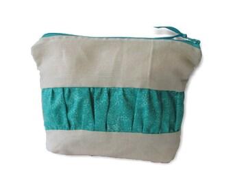 Zip Pouch | Cosmetic Bag | Toiletry Organiser| Travel Bag |medium Zip Pouch | cosmetic case, linen with aqua ruffle
