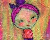 Sunshine Girl, original painting 4x4in, mixed media