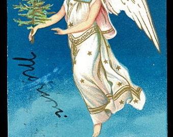 Christmas Angel with Tree Embossed 1907 Postcard