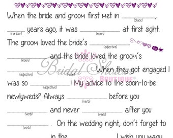 Mad Libs Wedding Advice Bridal Shower Game PLUM - Fun, Detailed, and Cute!