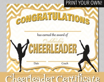 Editable Cheerleader Certificate Instant Download Rh Etsy Com Printable  Cheerleading Certificates Printable Certificates Of Participation  Printable Congratulations Certificate