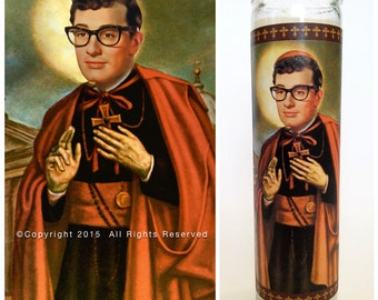 """Buddy Holly Prayer Candle. Saint Holly! Great Gift! Premium Handmade 9"""" Soy Candle!"""