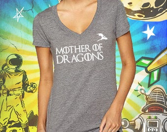 Game of Thrones / Mother of Dragons Heather Gray Women's Triblend Deep V-Neck T-Shirt Game of Thrones Mother of Dragons