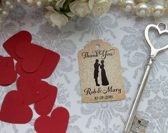 Bride and Groom Tags, Wedding Gift Tags, Shabby Chic Tags, Mr & Mrs Gift Tags. Set of 25 to 300 pieces, Custom Language available.