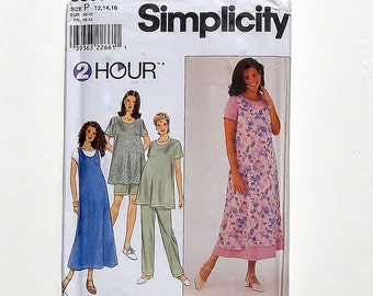 Simplicity Maternity Sewing Pattern - Dress or Top, Jumper and Pants or Shorts Pattern #8589 - UNCUT - size 12+14+16