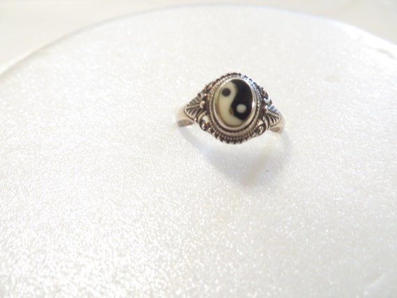 sterling silver yin and yang ring by postroadestates on etsy