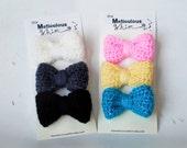 Crochet Hair Bows - Hair Bow - Set of 3 - Crochet Hair Clips - Crochet Hair Accessories