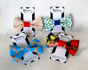 """SALE Red Dog Bow Tie - Stars Dog Velcro Bow ties - 4th of July Bow Tie - Independence Day Bow Tie - Cat Bow Ties - Red & Cream Stars 5"""" ONLY"""