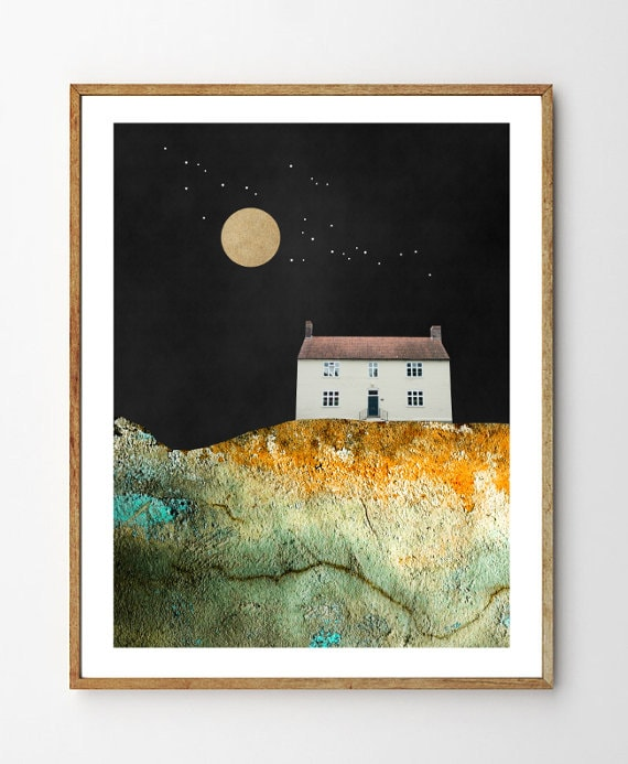 Solitude Nature Art Print Moon And Stars Landscape