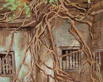 Angkor Wat Painting. Angkor Wat Cambodia. Cambodian Painting. Angkor Wat Trees. Cambodia Landscape. Angkor Wat Art. Cambodian Painting.