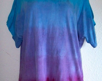 Pink, Purple and Blue Ombre Dyed Split Sleeve Tee