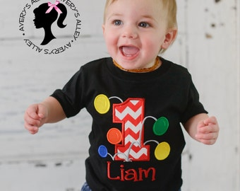 Bouncy Balls Birthday with Number and Personalized Name - Boys Applique Black Shirt or Bodysuit