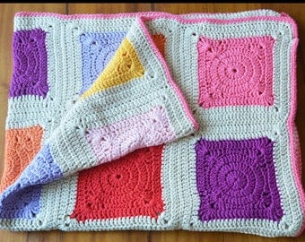 Circus Baby Blanket (FOR GIRLS). Crochet. 100% pure cotton. Ideal for cribs, carseats, strollers. Makes the best gift. Baby s room