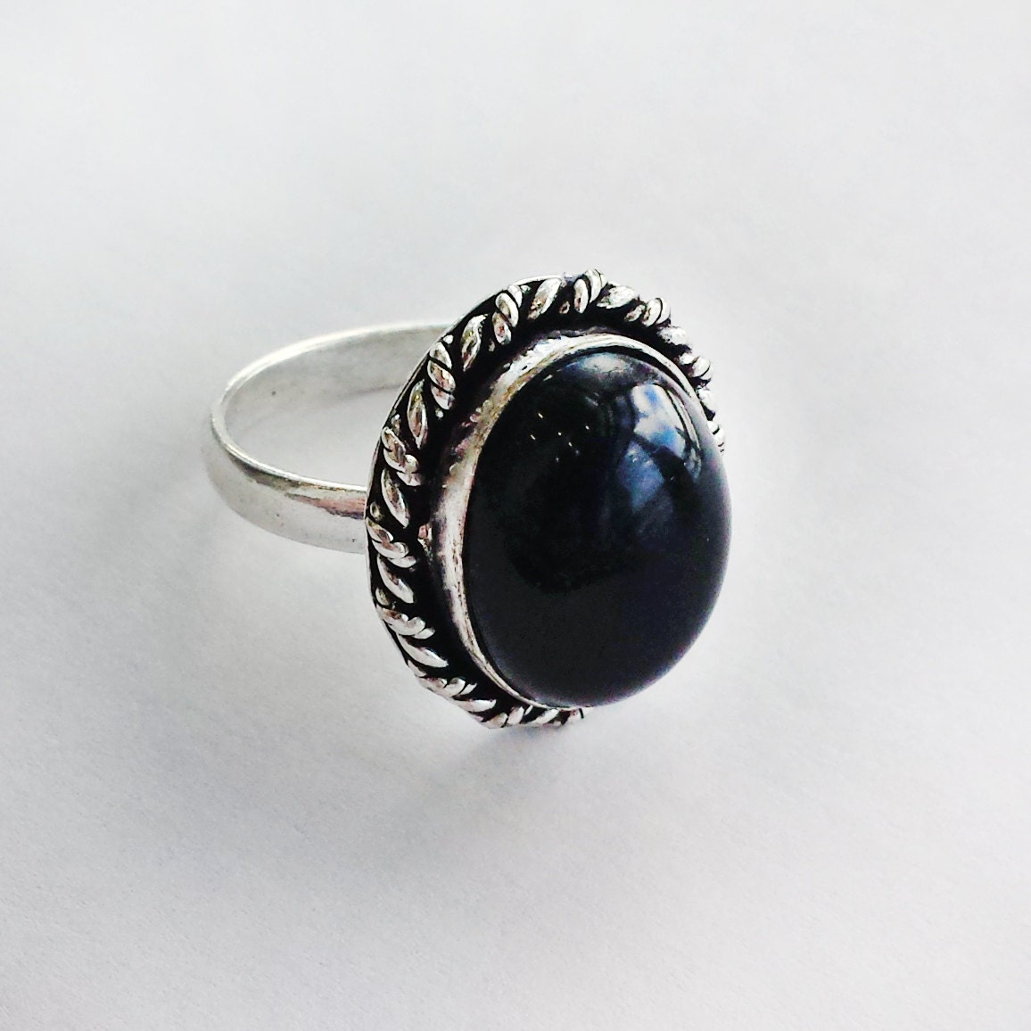 sale rings black onyx ring solid silver by magpiesandmagic