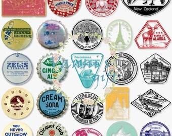 57 Vintage Trip Memento Logo Bottle Top  Postal Stamp Digital Download Scrapbooking Clip Art c37