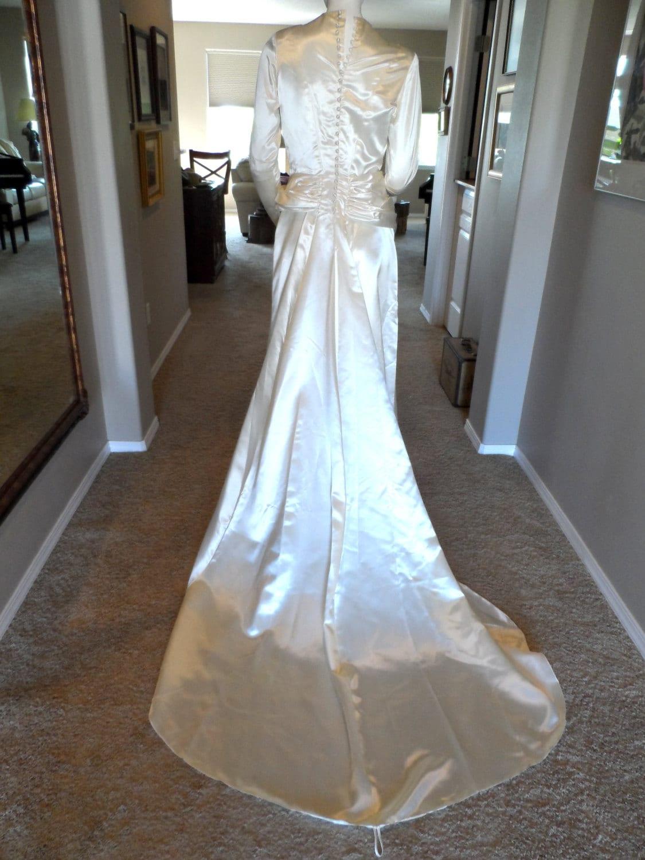 Vintage 1940 s Wedding Dress Cream Liquid Satin